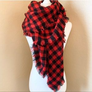 Red and Black Plaid Oversized Blanket Shawl Scarf